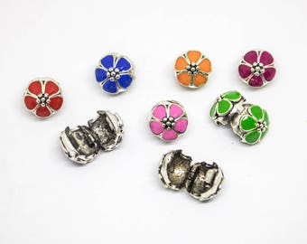Flower Stopper Beads - Flower Stop Charms for Pandora Style Charm Bracelets - Pink Orange Green Red Pink Flower Charm Beads - Clip Lock Bead