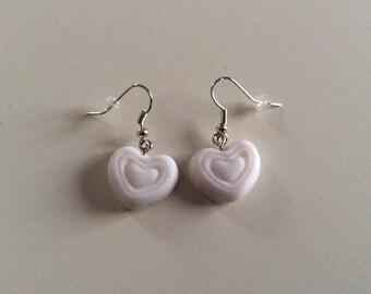 Glittery White Heart Earrings