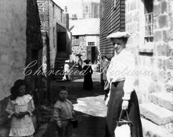 Vintage Photo Of Warren Looking Towards Parish Church, Cornwall. Black & White Or Sepia Reproduction Photograph.