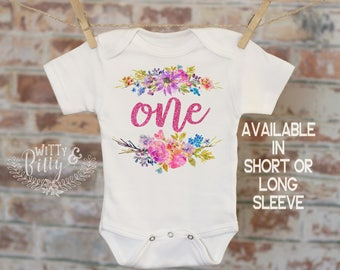 One Pink Glitter Flower Bundle Onesie®, Funny Onesie, First Birthday Onesie, Tribal Style Onesie, First Birthday Outfit - 406F