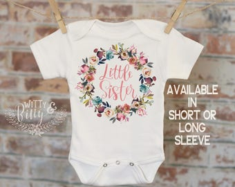 Little Sister Rustic Rose Wreath Onesie®, Sibling Onesie, Cute Baby Bodysuit, Cute Onesie, Coming Home Outfit, Girl Onesie - 411L