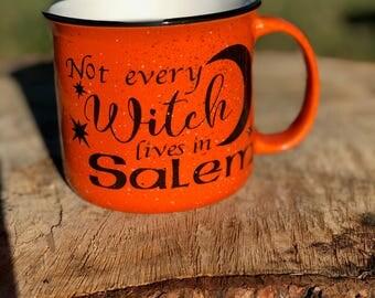 Not every witch lives in Salem, Hello Pumpkin Mug, Ceramic Mug, Coffee Mug, Campfire Mug, Holiday, Fall,  SALE, Custom, Personalized, Mug