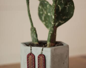 Talulah Crimson Tooled Earrings | Leather Earrings | Birthday Gift | Anniversary | Gifts under 25 | Handmade | Gifts for Her