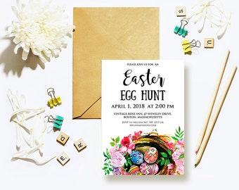 Easter Eggs Printable Invitation Easter Egg Hunt Easter Brunch Easter Party Invites Watercolor Spring Flowers Birds Nest Digital DIY Invites
