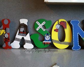 Thomas the Train Engine Hand Painted Custom wodden letters for Nursery or kids bedroom playroom