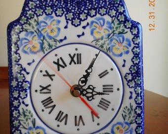 Polish Pottery Clock, Unikat, Manufactura, Bolesławiec