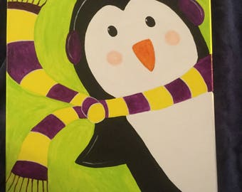Christmas Winter Penguin, acrylic painting on 16x20 canvas