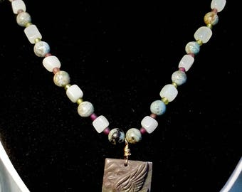 Hand carved Jasper and Onyx Necklace