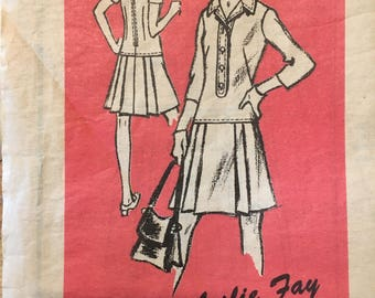 "1960's mail order pattern, drop waist, collared dress, pleated skirt , Leslie Fay M150 Size 12 34"" bust"
