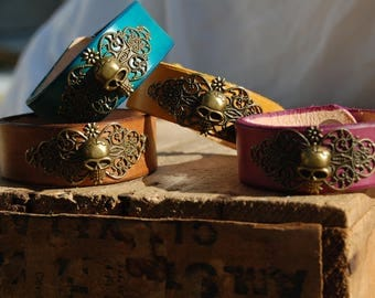 Filigree with Skull leather cuff bracelet. Handmade
