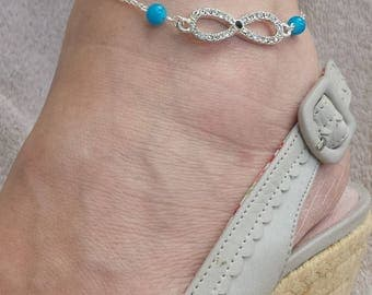 Chain anklet-infinity connector beads and rhinestones