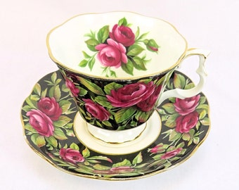 Vintage Royal Albert Provincial Flowers, Crimson Glory, porcelain teacup from 1975