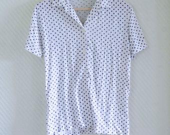 Vintage 60s 70s cotton white short sleeve shirt blouse top