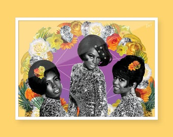 The Supremes - Black Art - Collage Art - Black Girl Magic - Vintage Black Glamour - Wall Art - Art Print - A4 - Black on Paper