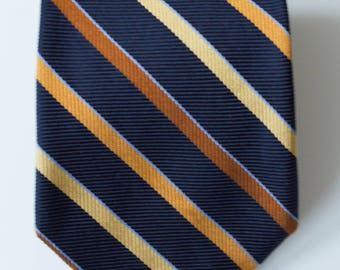 Massimo Dutti Vintage Striped Silk Tie | Blue, Orange, Yellow and Brown Striped 100% Silk Tie | Made in Italy