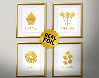 Package of 4, Real Gold Foil Print, Kitchen Decor, Cupcake, Cake Pops, Donut, Macarons, Kitchen Wall Decor, Bakery Poster, Restaurant Decor