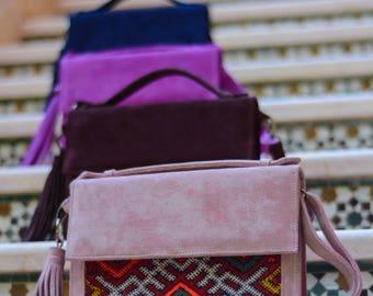 Medina suede and kilim clutch