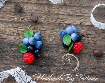 Earrings jewelry berries of polymer clay raspberries earrings blueberries earrings blackberry idea gifts earrings with berries handmade
