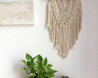 Medium Macrame Wall Hanging on a Foraged Branch, Woven Wall Hanging, Boho Hippie Tapestry, Bohemian Decor, Statement Piece