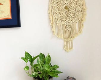 Medium Macrame Wall Hanging on a Foraged Branch with a Yellow Jasper Crystal, Woven Wall Hanging, Boho Hippie Tapestry, Bohemian Decor