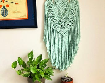 Mint Green/Blue Macrame Wall Hanging on a Wooden Dowel, Woven Wall Hanging, Boho Hippie Tapestry, Bohemian Decor, Statement Piece