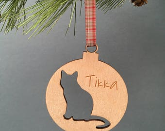 Personalised Cat Bauble. Christmas Pet Decoration. Festive Kitten Bauble