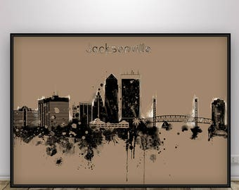 Jacksonville Florida Skyline Poster, Jacksonville Print, Jacksonville Cityscape, Jacksonville Decor, Home Decor, Gift Idea