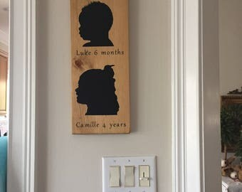 Silhouette Portrait - Custom Profile - Wood Sign - Children - Shadow - Picture -