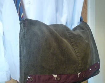 Corduroy messenger bag