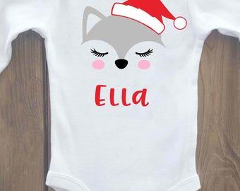 Christmas onesie, girls Christmas onesie, Christmas shirt, christmas outfit, girls christmas shirt, christmas baby outfit, fox shirt