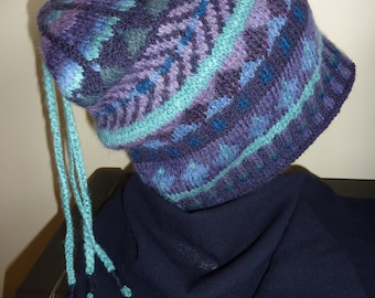 Fair Isle hat, hand knitted.  wool,  navy blue and plums