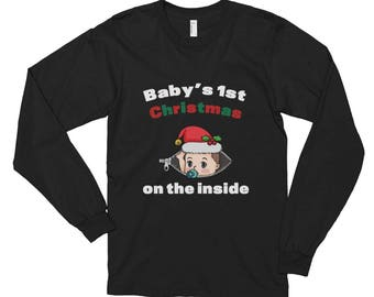 Maternity Baby Shirt-Baby's 1st Christmas On The Inside Ladies' Long Sleeve T-Shirt