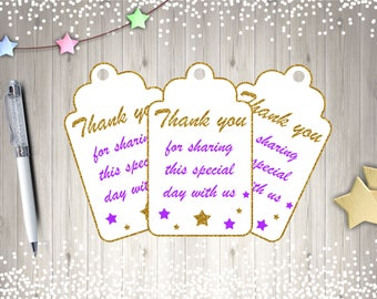 Purple Baby Shower Thank You Tags, Printable Tags, Purple and Gold, Digital Download, Gender Neutral