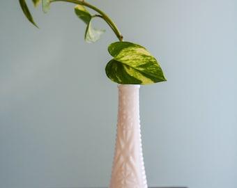 Vintage Milk Glass Vase with decorative markings