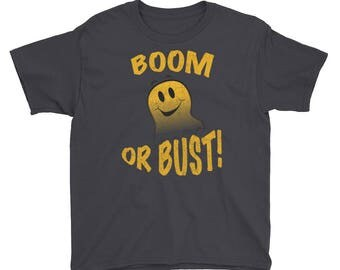 Boom Or Bust!  Distressed All Cotton Tee Short Sleeve T-Shirt