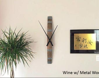 Rustic Wine & Whiskey Barrel Stave Clock