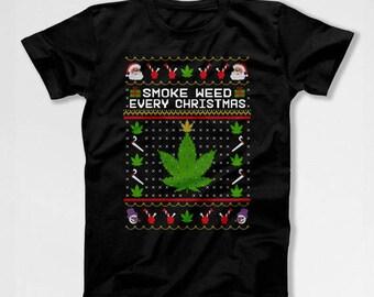 Christmas Gift Ideas Weed T Shirt Ugly Christmas Shirt Weed Clothing Holiday Present Pot Smoker Xmas T Shirt Mens Ladies Tee TEP-383