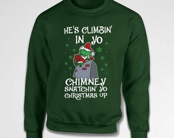 Funny Holiday Gifts Grinch Sweater Christmas Gift Ideas Xmas Clothes Tacky Christmas Sweater Holiday Present Xmas Clothing Hoodie TEP-529