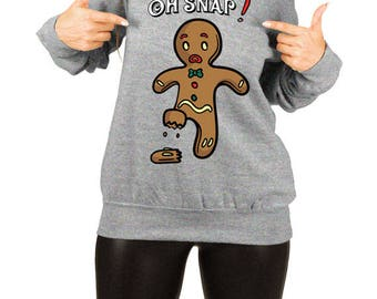 Christmas Humor Off The Shoulder Gingerbread Man Christmas Movie Holiday Gift Ideas For Women Xmas Jumper Slouchy Sweatshirt TEP-532
