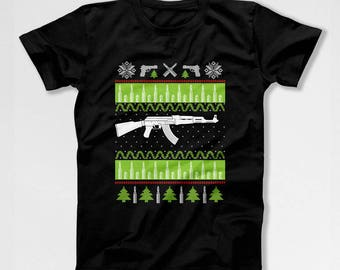 Ugly Holiday T Shirt Christmas Shirt Xmas Gifts For Gun Lovers TShirt Dad Gift Idea For Men Gun Enthusiast Father Clothes AR15 Rifle TEP-549