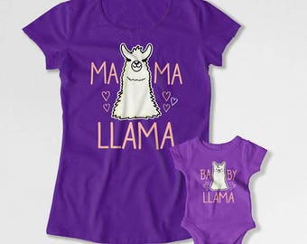 Mom And Daughter Shirts Mother Son Gift Matching Outfits Mommy and Daughter T Shirts Mom And Son TShirts Mama Llama Baby Llama TEP-265-266