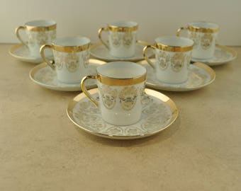 La C'ebone Fine China 22KT Gold Espresso Cups and Saucers