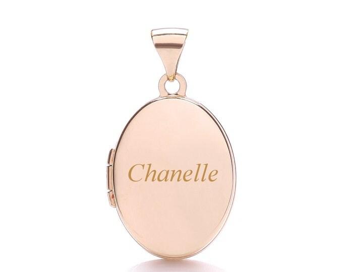 9ct Rose Gold Plain 2 Photo Medium Oval Locket-Personalised Name/Initials & Message