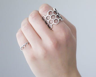 Hexagon ring, sterling silver, Honeycomb ring, 925 Silver Ring, Geometry, Ring, Gift, Birthday, Anniversary, Valentines day, Modern,