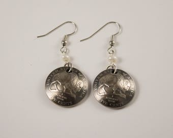 Buffalo Nickel and pearl earrings jewelry  unique birthday Christmas gift for mom wife sister self