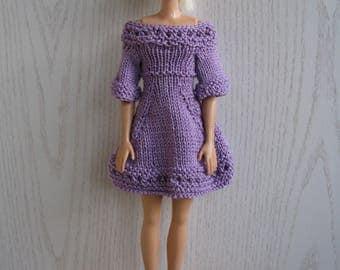 Purple dress for Barbie knitted handmade, Barbie fashion clothing