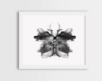Black butterfly print, watercolor butterfly art, grey butterfly wall art, butterfly painting, grey butterfly illustration