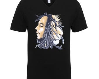 Bob Marley Rasta and Lion Trend Clothing Adult Unisex T-Shirts Men Size V Neck Tee Shirts for Men and Women