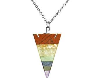 Chakra Arrowhead Silver Necklace