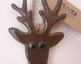 Rudolf the Red Nose Reindeer Fused Glass Christmas Tree Decoration Ornament